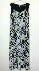W-Lane-Womens-Black-White-Green-Sleeveless-Long-Lined-Dress-Size-S
