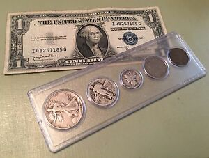 Old-U-S-Coins-Silver-Set-amp-1935-Silver-Certificate