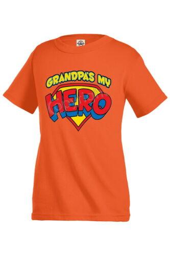 GRANDPA`S MY HERO family T-shirt Kid/'s Children Unisex Girl Boy Funny KP211