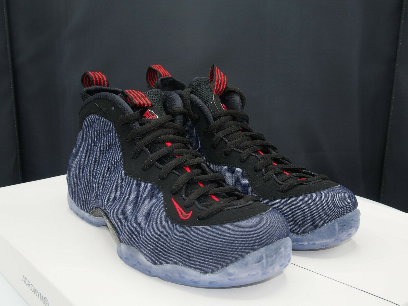 1adf801c774f Nike Air Foamposite One Denim Mens 314996-404 Obsidian Black Red ...