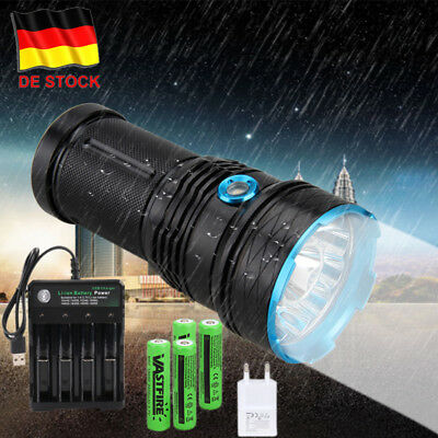 50000LM 12//10X XML T6 LED Licht Starke Camping Taschenlampe 4*18650 Ladegerät