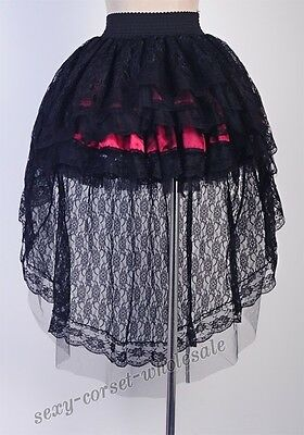 Gothic NANA Victorian Lolita Punk Size S-6X Black Red LAYER Lace SKIRT SCW A3135