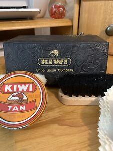 Vintage Kiwi Shoe Shine Compact Kit Horsehair Brushes Cloths Tan & Brown Polish