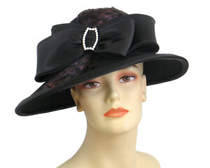 1e5f53a52eb Details about Women's Wool Dress Church Hats - Black - ED012