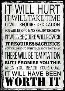 Details About Inspirational Motivational Sports Quote Poster Print It Will Hurt Worth It
