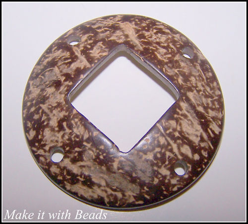 65mm Large Coconut Shell Disc Surfer Style Pendant