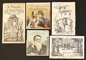 Five Victorian Trade Cards 2 trick cards 3 puzzle cards (1880s)