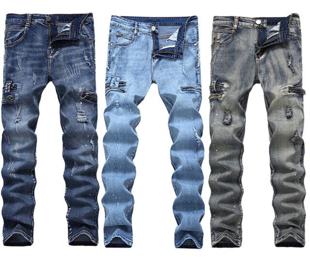 Fashion Mens Distressed Ripped Biker Slim Jeans Taped Stretched Moto Denim Pants