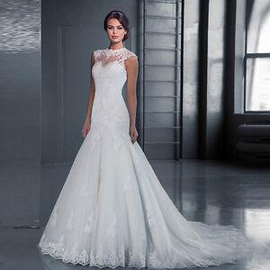 2018-New-Women-039-s-White-Ivory-Lace-Mermaid-Wedding-Dress-Bridal-Gown-Custom-Size