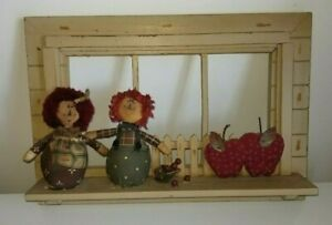 Cute-Vintage-Wood-Window-Frame-amp-Sill-Ledge-Cloth-Dolls-Heart-Farm-Country-Decor
