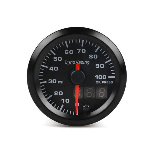 """Sensor 2/"""" 52mm Digital /& Pointer 7 Color LED 0-100 Psi Oil Pressure Gauge Meter"""