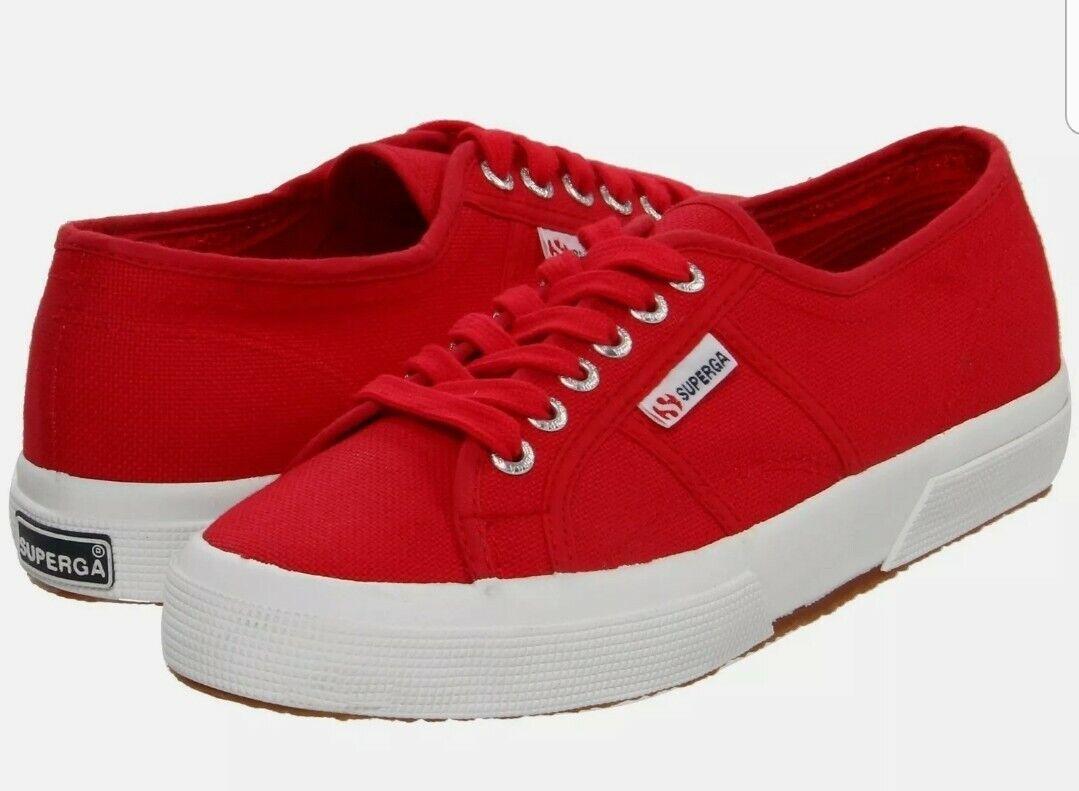Mens Superga 2750- Cotu Classic Low-Top canvas Sneaker Red SZE 12 bnwb