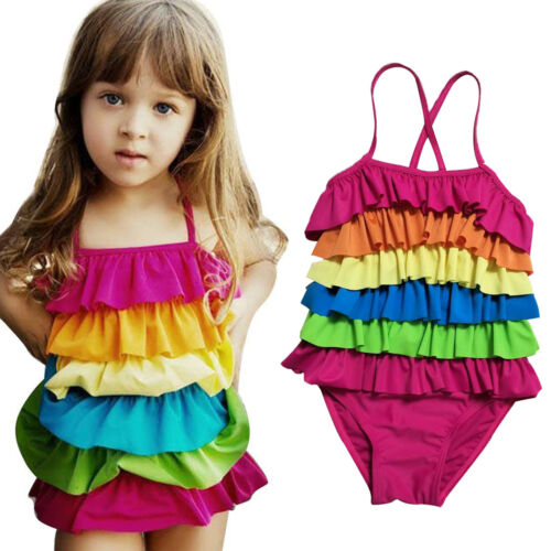 Toddler Kids Girls Rainbow Swimdress Swimwear Layered Swimsuit Swimming Costume