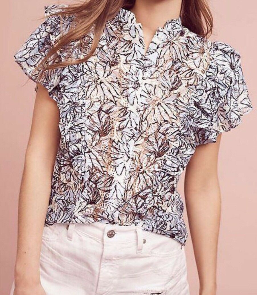 NEW Anthropologie Jolyn Lace Flutter Top Blouse Größe Large