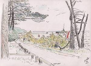 NETLEY-HAMPSHIRE-COASTLINE-amp-BOATS-Pen-amp-Ink-Drawing-T-J-PITT-1991