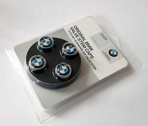 "Set of 4 Brand New GENUINE BMW BMW Wheel Valve Stem Cap Set with /""Roundel/"" Logo"