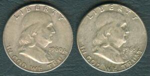 2-pcs-1960-amp-1963-US-Benjamin-Franklin-1-2-Half-Dollar-90-Silver-Coin-10