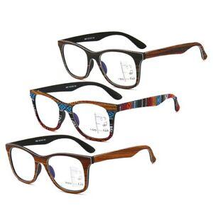Multifocal-Progressive-Reading-Glasses-Wood-Grain-Retro-New-Readers-1-0-3-5-Man
