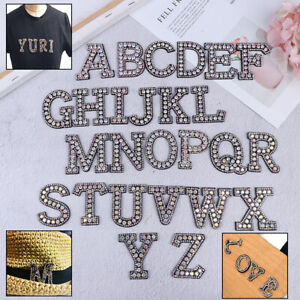 A-Z-Letter-Rhinestone-Patch-Iron-on-Patches-Garment-Applique-Clothing-Sticke-Yf