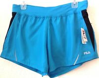 Womens/ladies Small Turquoise/black Running Shorts Fila Polyester Lined