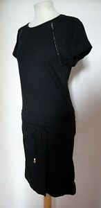 SCOTCH-amp-SODA-Quirky-Black-Cotton-Shift-Dress-with-Apron-Front-Size-1-UK8