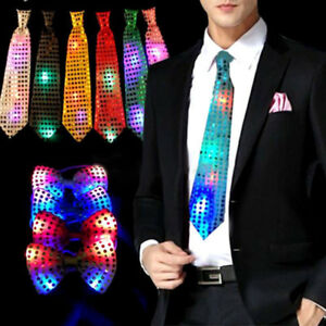 Female Male Sequins LED Neck tie Light Up Bow Tie Blinking Ties ...