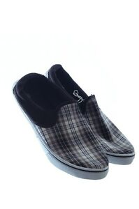 mens black white plaid slip on canvas boat deck loafers