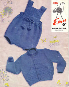 29ddb7278 Baby Romper suit and Cardigan Knitting pattern- Lovely vintage ...