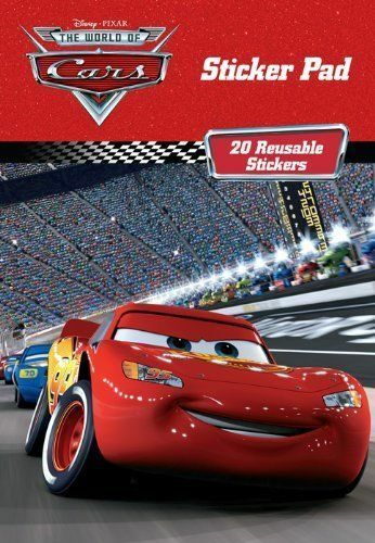 DISNEY PIXAR THE WORLD OF CARS STICKER PAD WITH 20 REUSABLE STICKERS LIGHTNING