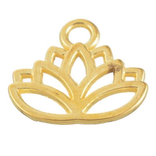 150 Pendentifs Connecteurs Métal Creux Motif Lotus Doré Pr Bracelet 15x17mm
