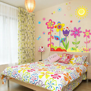 Bunte-Blumen-Wandaufkleber-Kunst-Dekor-fur-Kinderzimmer-Vinyl-Aufkleber