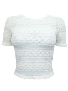 0267efc68fc3bc NEW TOPSHOP CREAM BOBBLE KNIT LACE CROP TOP SIZES 6 TO 16 | eBay