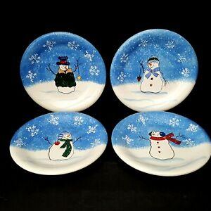 St-Nicholas-Square-Button-Up-4-Snowman-Salad-Snack-Plates-Blue-Kohls-Gift-Idea
