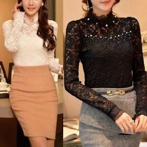 d94010def19b21 Elegant Ladies Chiffon Lace Long Sleeve Shirt Frill Ruffle High Neck ...