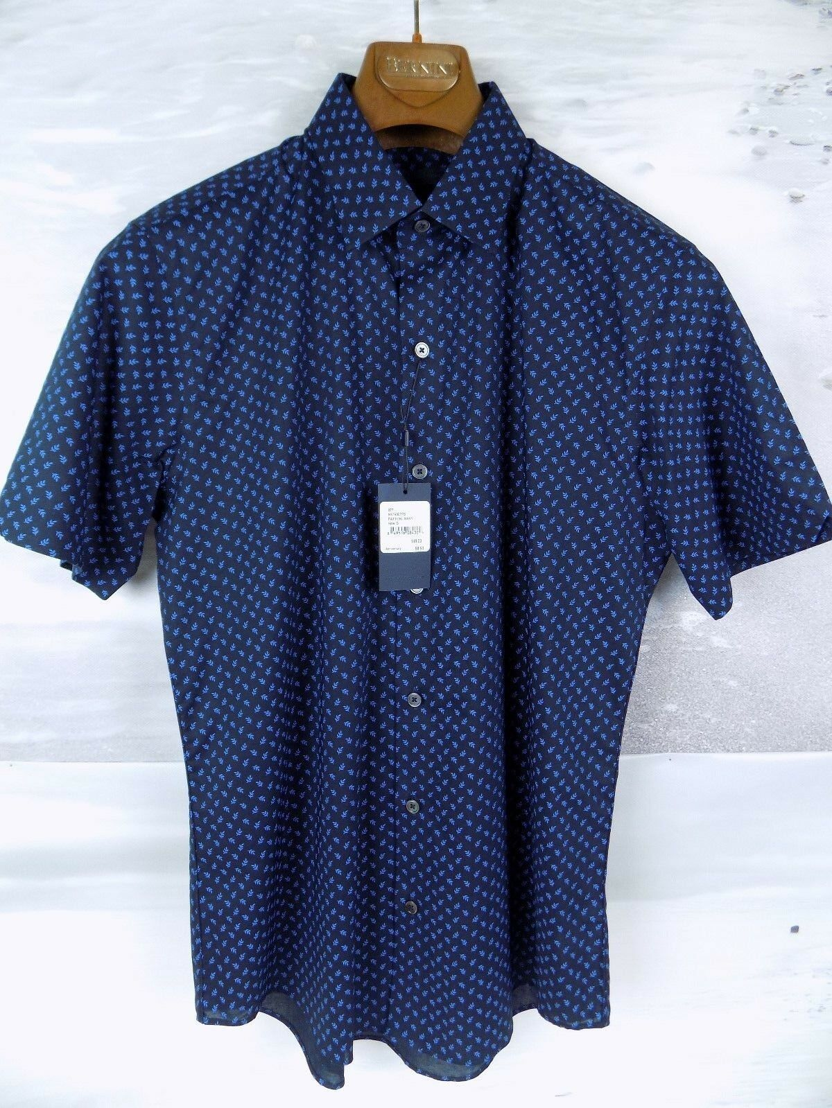 NWT Zachary Prell Short Sleeve Patton Navy Shirt Size-Small