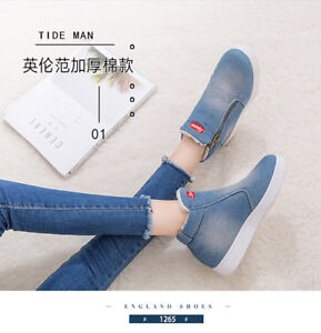 2019-Winter-Fleece-Lined-Warm-Ankle-Snow-Boots-Flat-Denim-Zipper-Women-Shoes