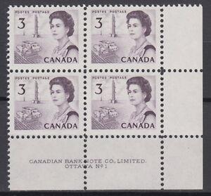 CANADA-456-3-Queen-Elizabeth-II-Centennial-LR-Plate-1-Block-MNH