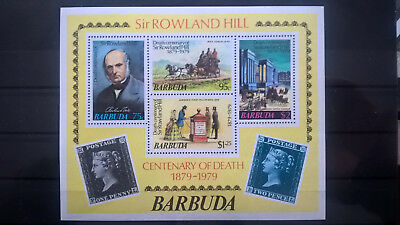 Briefmarken Todestag Rowland Hill Marke Auf Marke Postfrisch Motive Ehrlich Barbuda 1979 Block 100