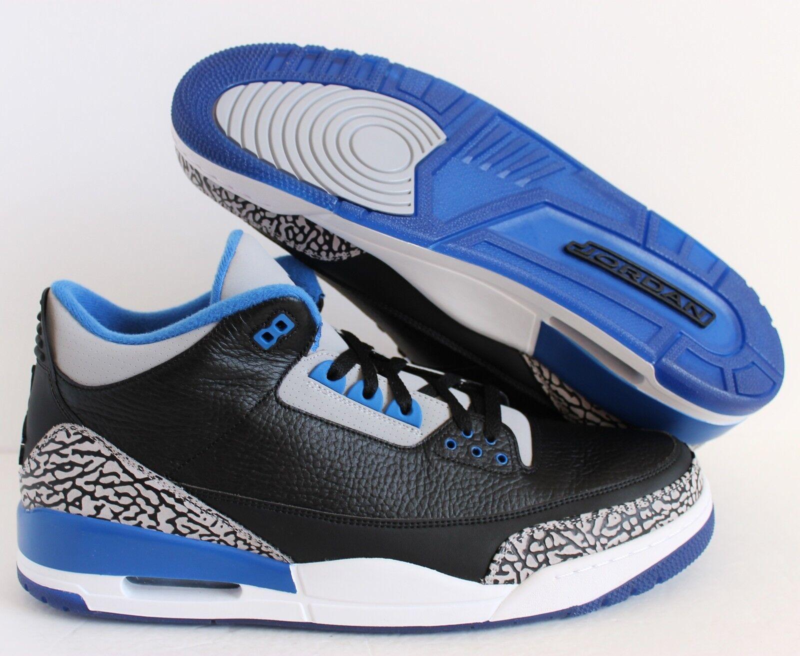 Nike Air Jordan 3 III Retro Black-Sport bluee-White SZ 17 [136064-007]
