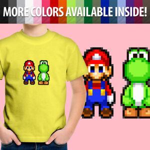 Toddler Kids Tee Youth T-Shirt Tee Shirt Gift 8-Bit Pixel Super Mario Yoshi