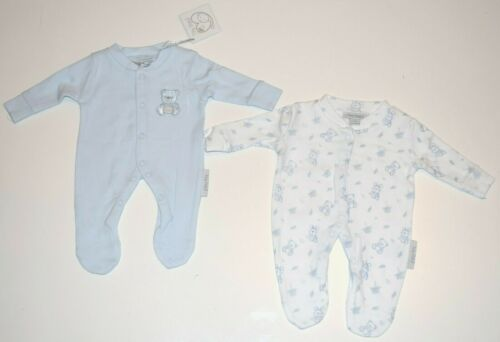 Tiny Baby Twin Pack of Bear Decorated Sleepsuits for Premature