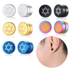 fa66bceb9 Image is loading Men-Women-Earrings-Stainless-Steel-Magnetic-Ear-Studs-