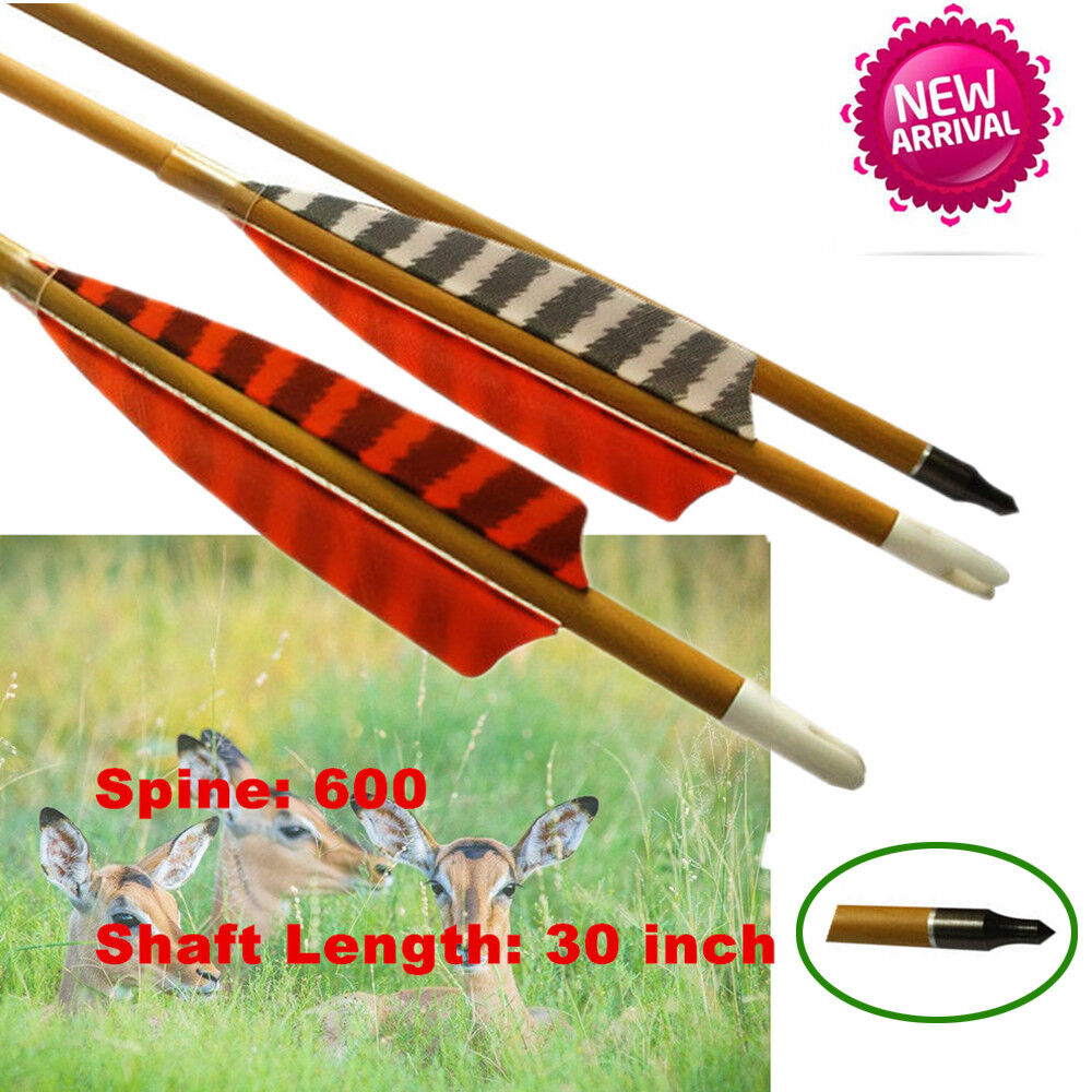 6X 30 inch Archery Hunting Wooden Arrows With Turkey Feather Spine 600 HC