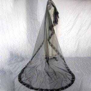 Bridal-Gothic-Wedding-Veil-Black-Rose-Punk-Victorian-Rave-Fancy-Dress-GO9