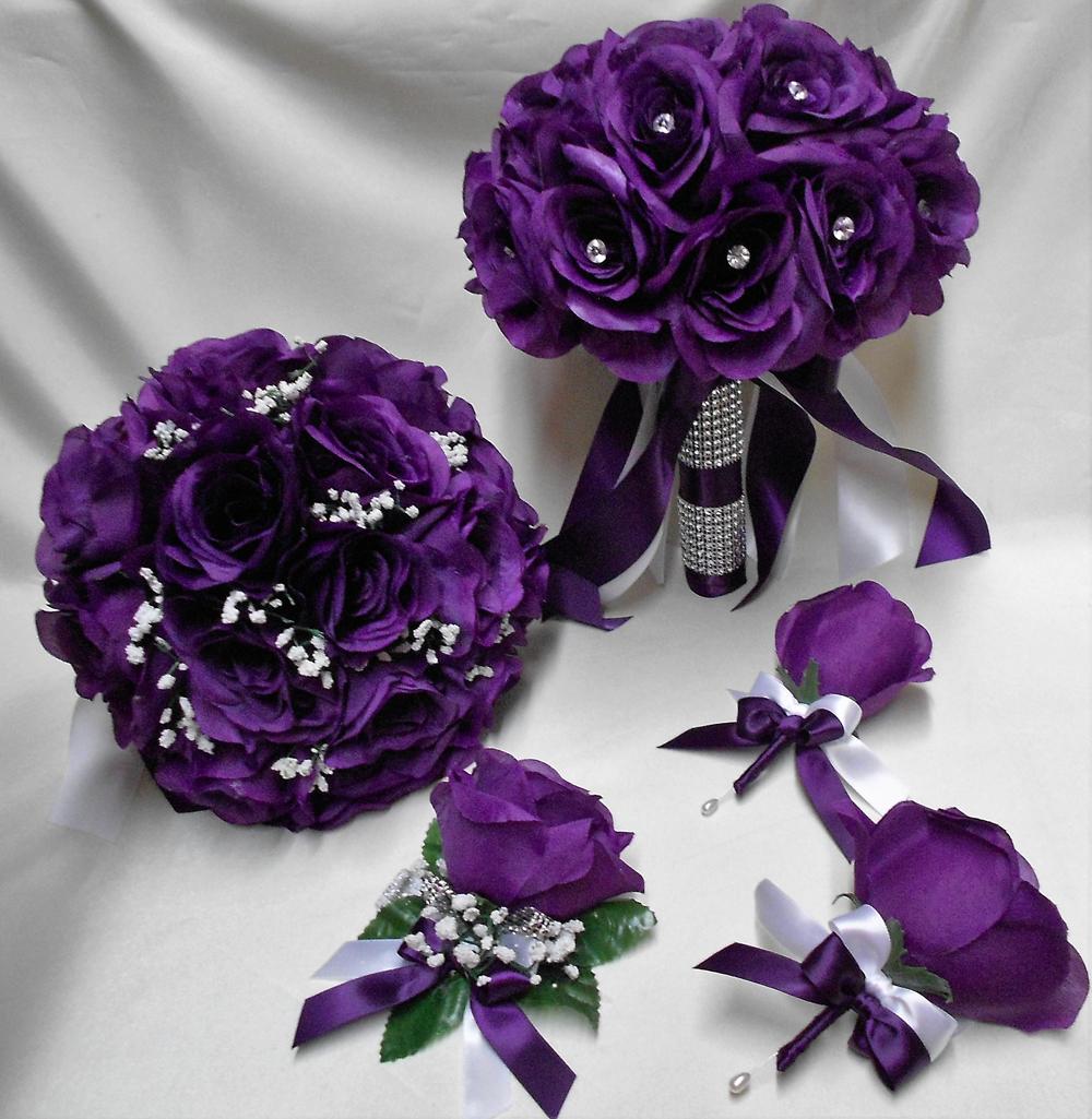 18 Pièce Paquet Soie Fleur Mariage Bridal Bouquet Violet Aubergine Rose