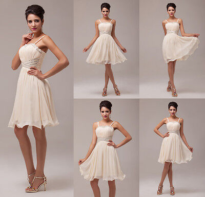 2015 Short Mini Chiffon Ball Gown Bridesmaid Evening Wedding Party Prom Dresses