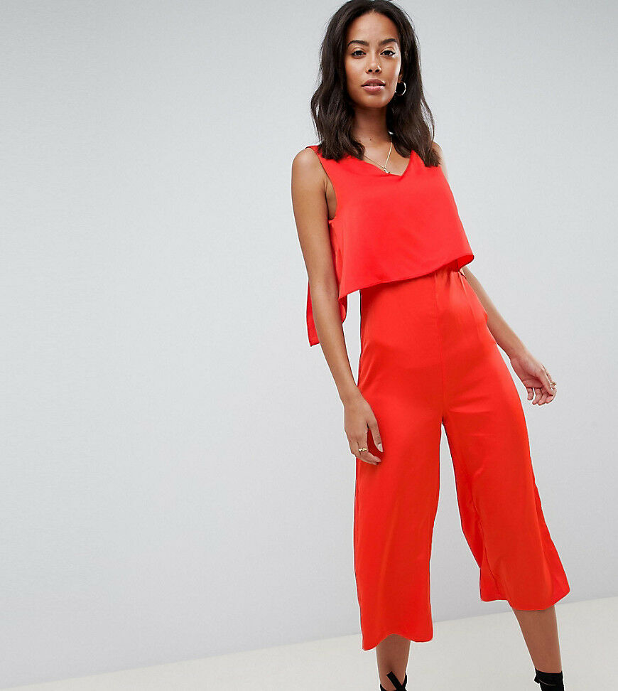 NEW GLAMgoldUS RED OVERLAY CULOTTE CROPPED 3 4 LEG JUMPSUIT BOHO PARTY LOOK