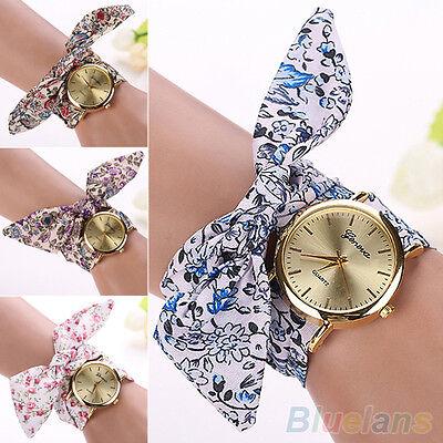 Women's Fashion Geneva Floral Allover Cloth Scarf Band Quartz Analog Wrist Watch