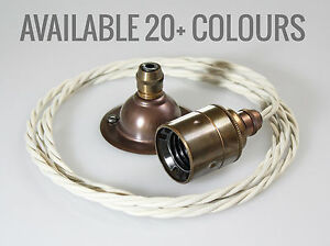 Image is loading Fabric-Cable-Pendant-Light-Fitting-Vintage-Style-Industrial -