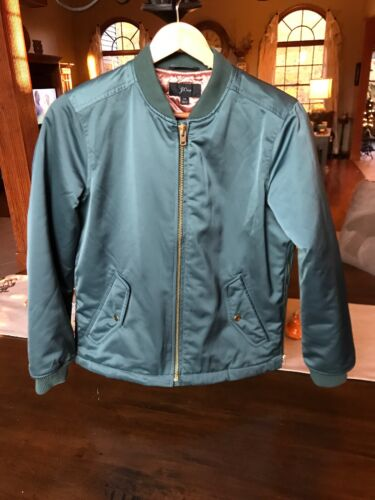 J.Crew Bomber jacket with side zips $198, green, X